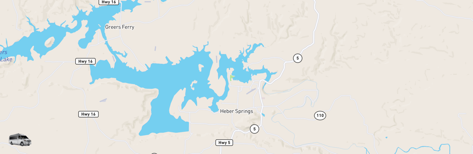 Class B RV Rentals Map Heber Springs, AR