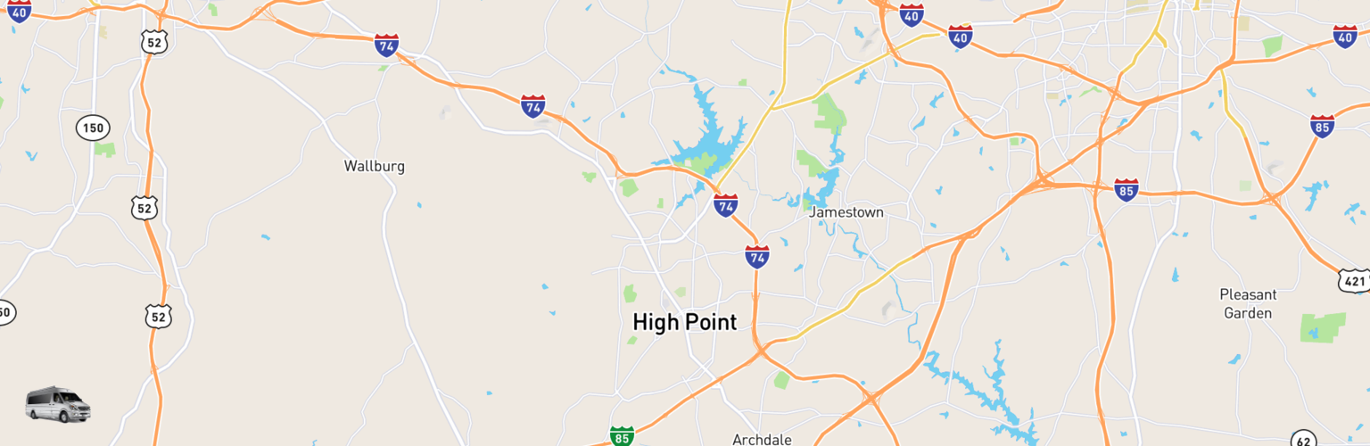 Class B RV Rentals Map High Point, NC