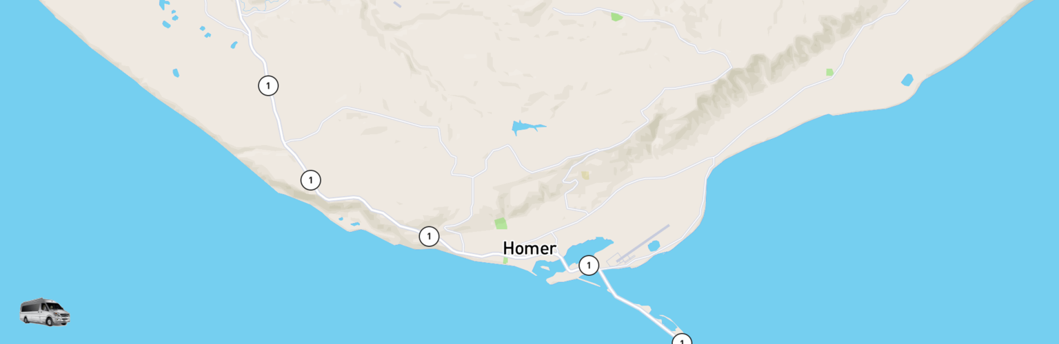 Class B RV Rentals Map Homer, AK