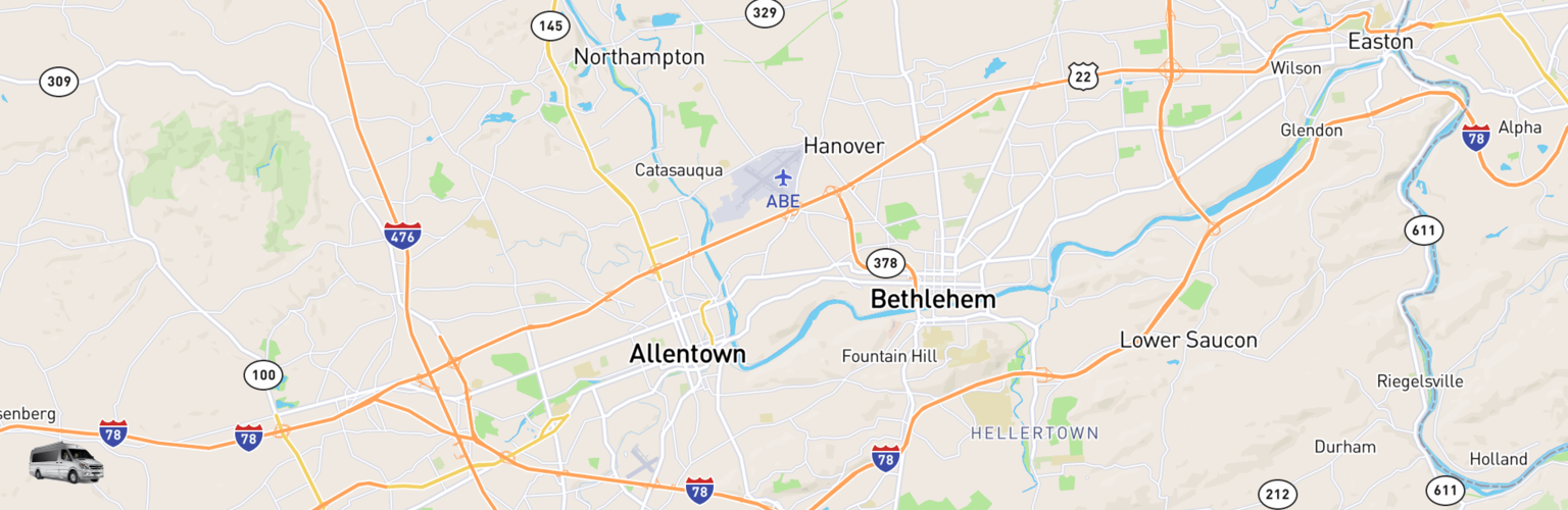 Class B RV Rentals Map Lehigh Valley, PA
