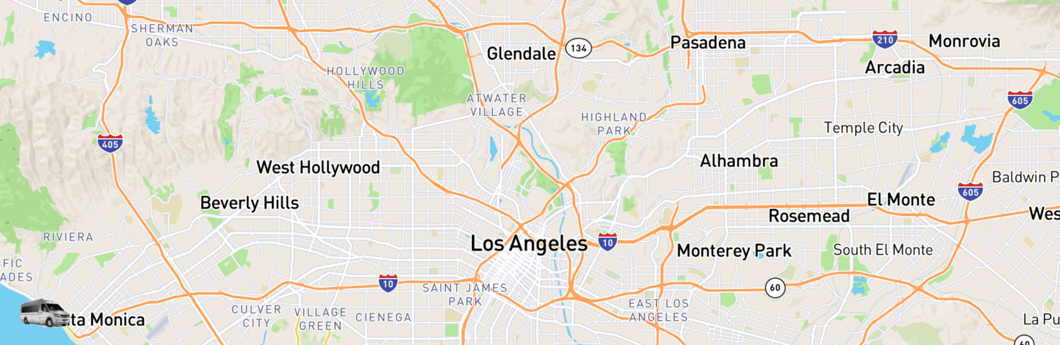 Class B RV Rentals Map Los Angeles, CA