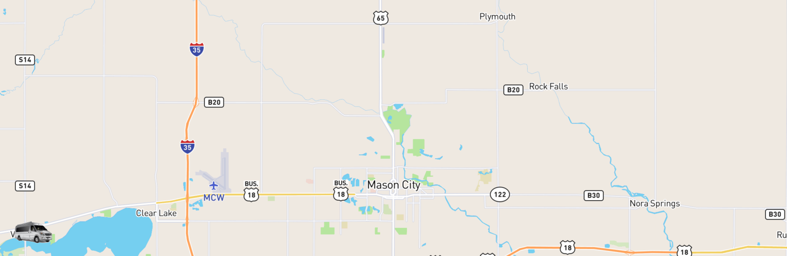 Class B RV Rentals Map Mason City, IA