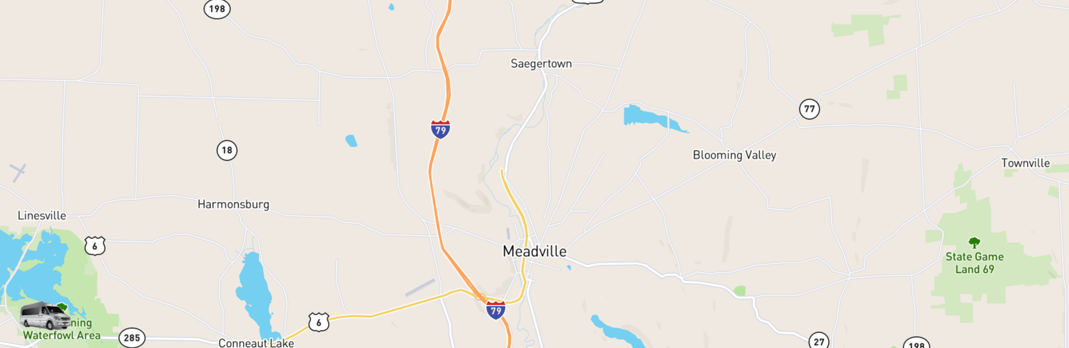 Class B RV Rentals Map Meadville, PA