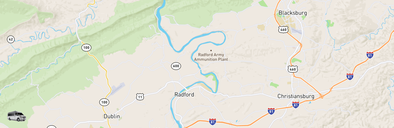 Class B RV Rentals Map New River Valley, VA