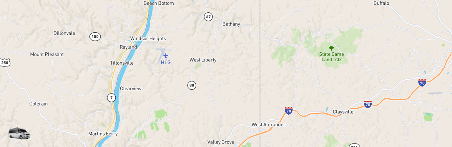 Class B RV Rentals Map Northern Panhandle, WV