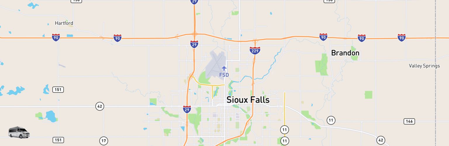 Class B RV Rentals Map Sioux Falls, SD