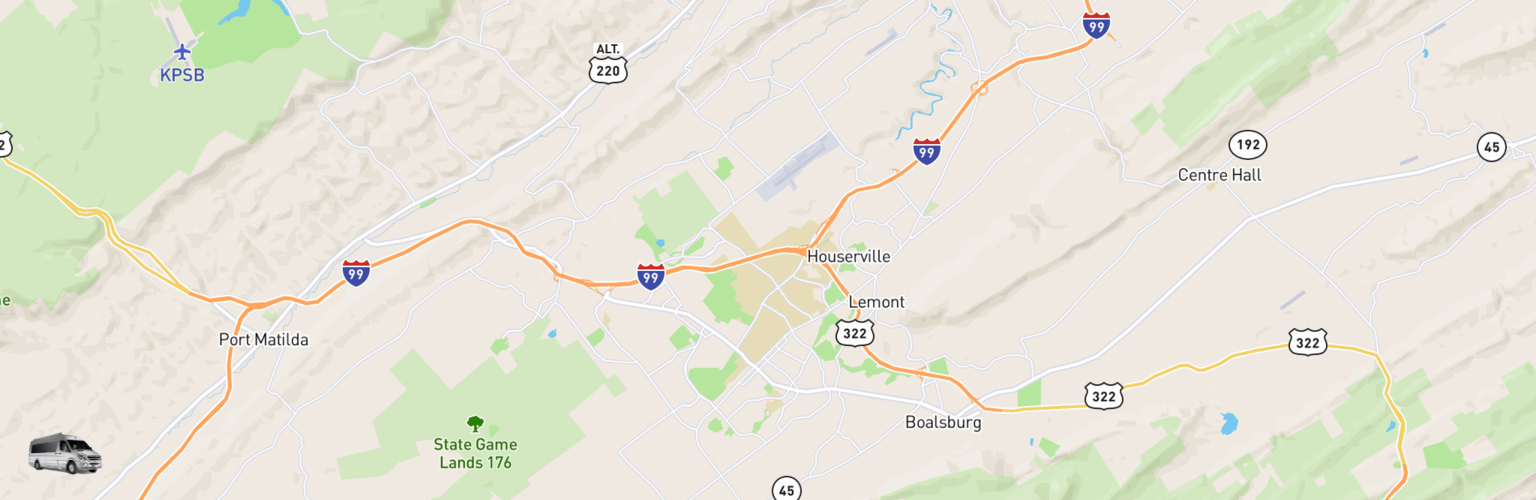 Class B RV Rentals Map State College, PA