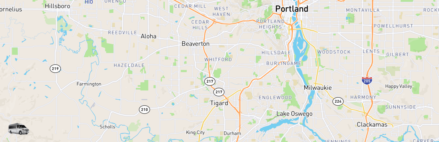 Class B RV Rentals Map Tigard, OR