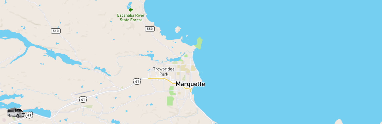 Class B RV Rentals Map Upper Peninsula, MI