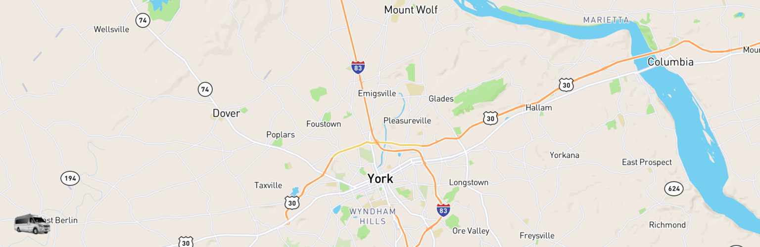 Class B RV Rentals Map York, PA
