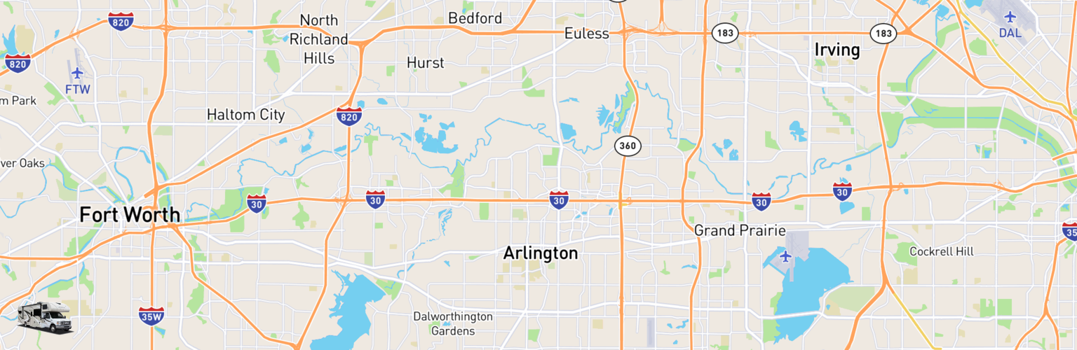 Class C RV Rentals Map Arlington, TX