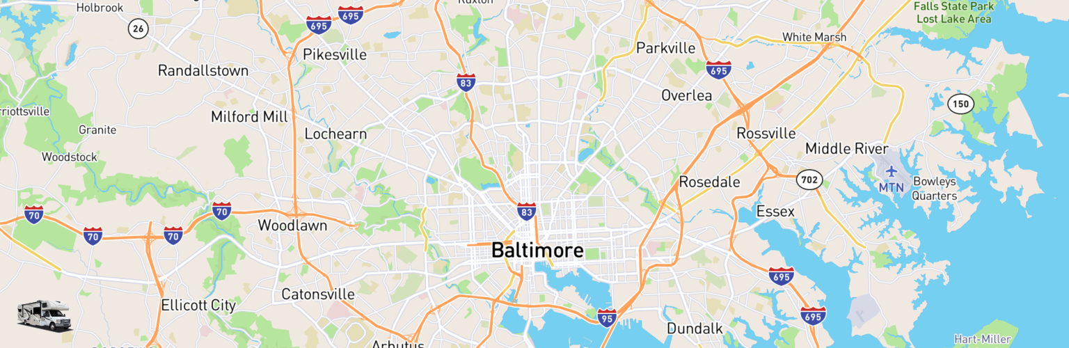 Class C RV Rentals Map Baltimore, MD