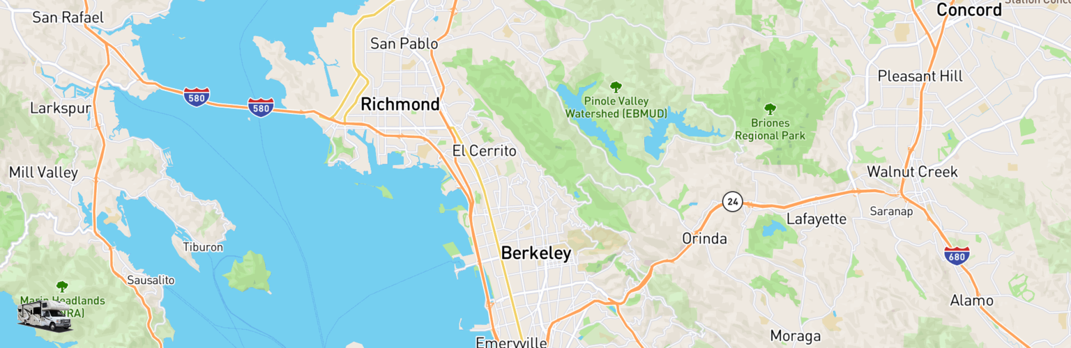 Class C RV Rentals Map Berkeley, CA