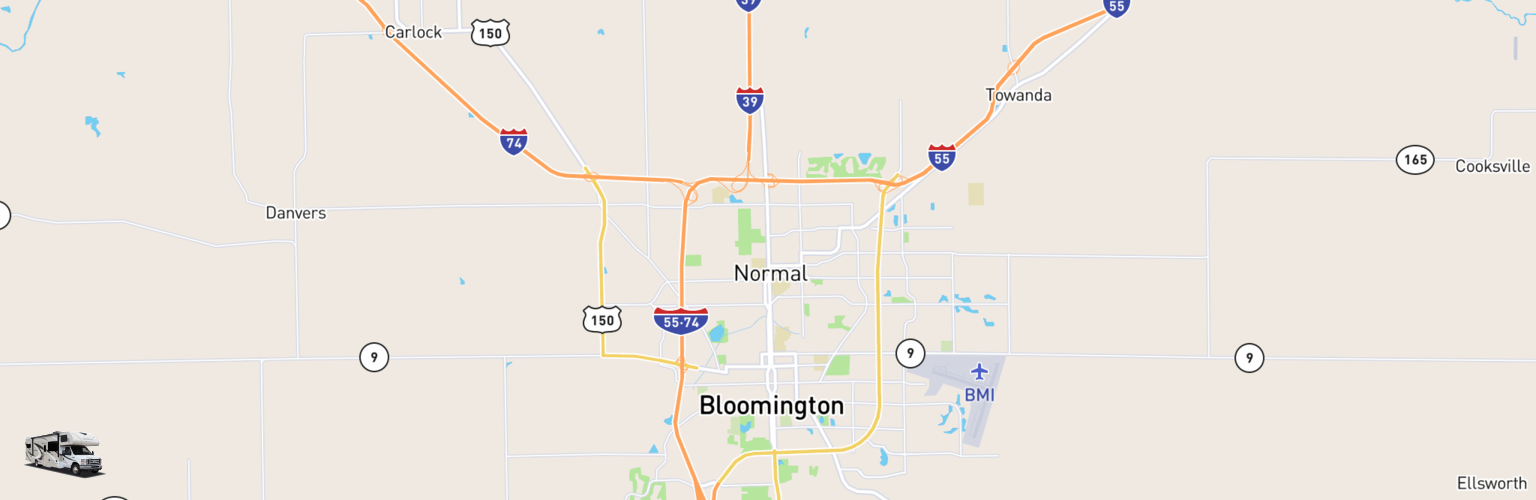 Class C RV Rentals Map Bloomington Normal, IL