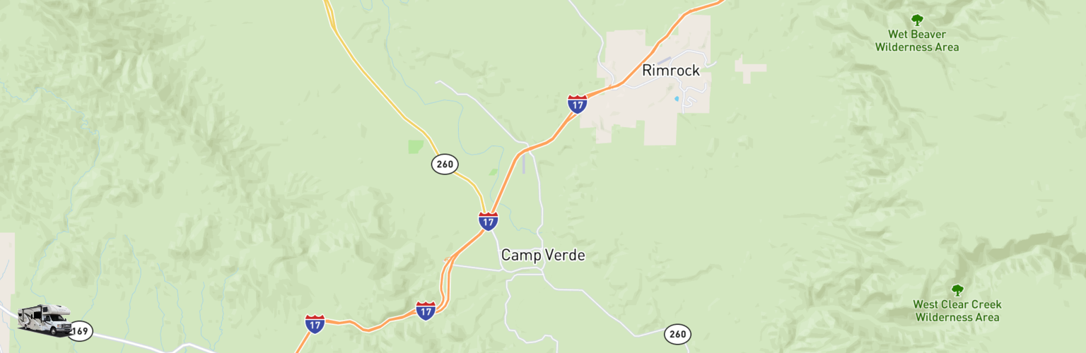 Class C RV Rentals Map Camp Verde, AZ