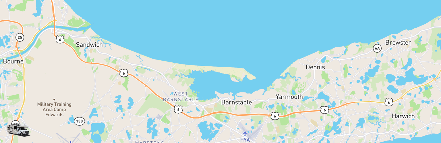 Class C RV Rentals Map Cape Cod, MA