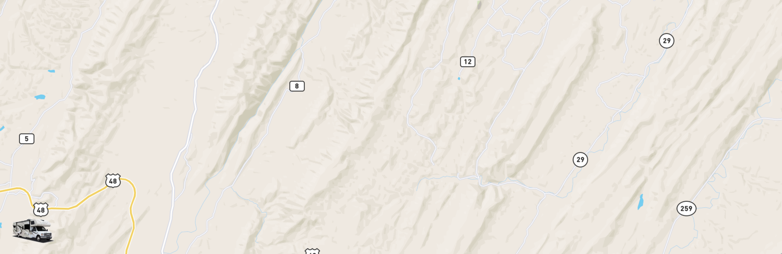 Class C RV Rentals Map Eastern Panhandle, WV