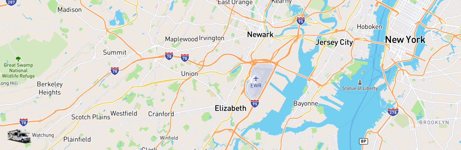 Class C RV Rentals Map Elizabeth, NJ