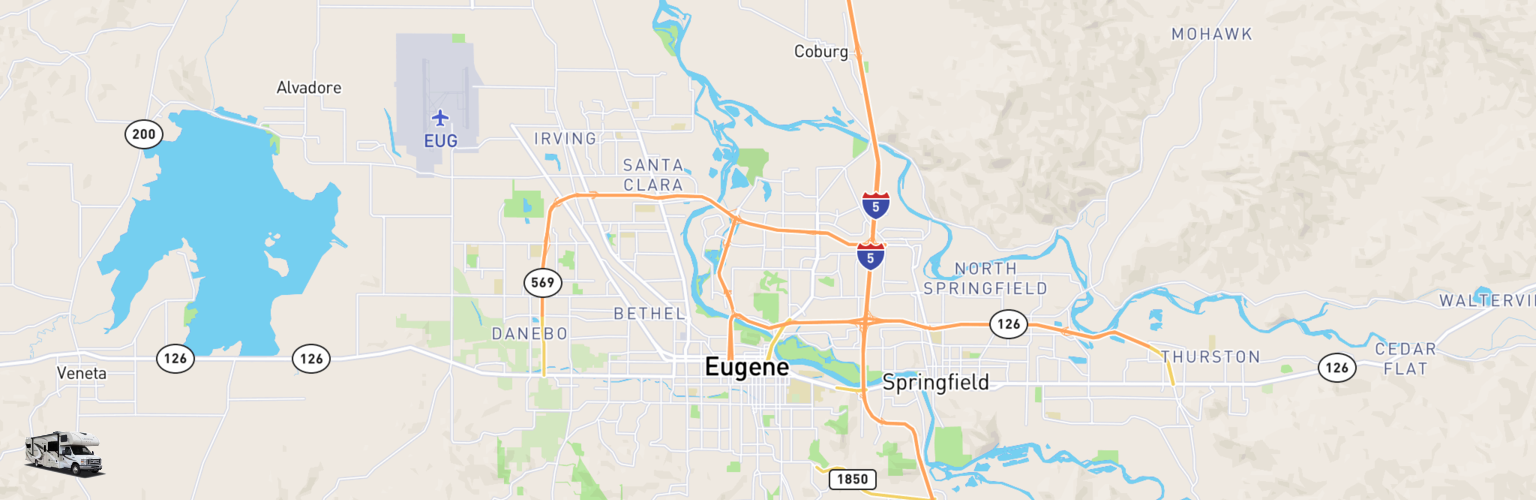 Class C RV Rentals Map Eugene, OR
