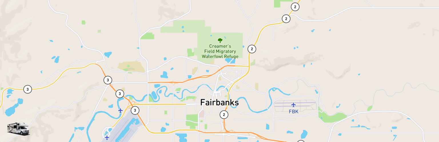 Class C RV Rentals Map Fairbanks, AK