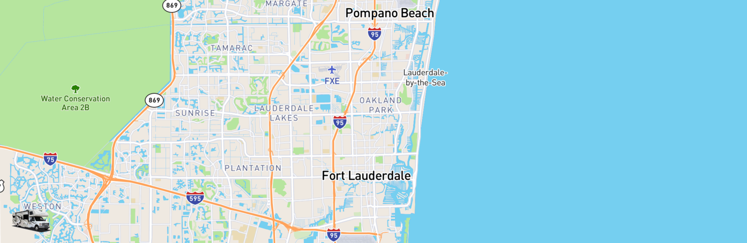 Class C RV Rentals Map Fort Lauderdale, FL