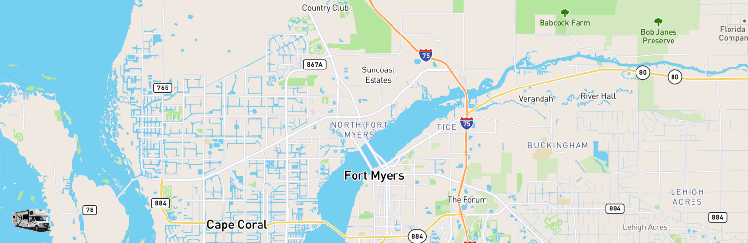 Class C RV Rentals Map Fort Myers, FL