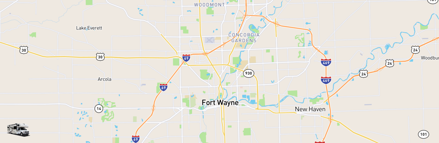 Class C RV Rentals Map Fort Wayne, IN