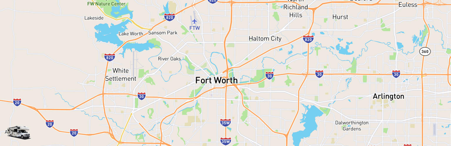 Class C RV Rentals Map Fort Worth, TX