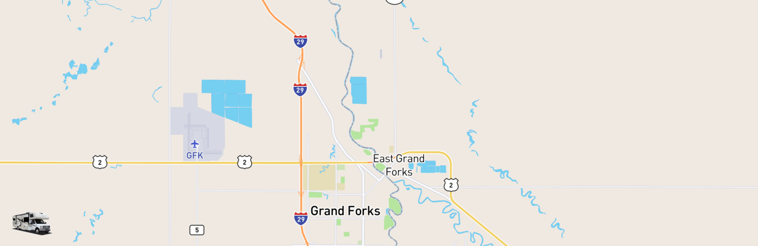 Class C RV Rentals Map Grand Forks, ND