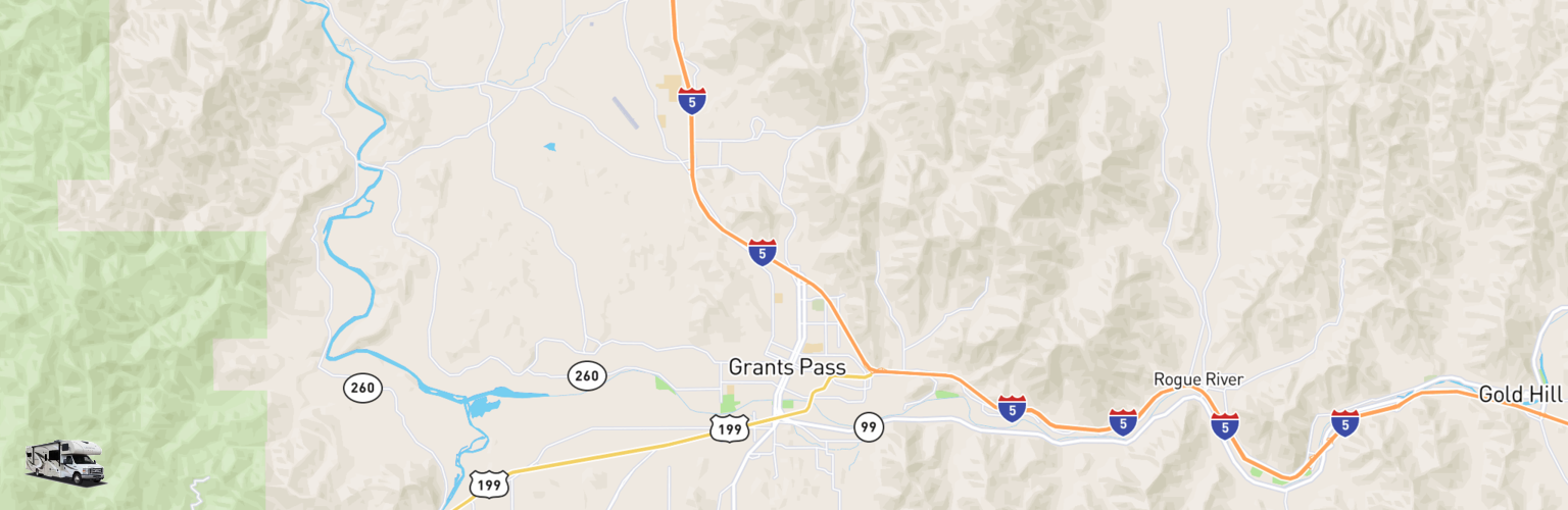 Class C RV Rentals Map Grants Pass, OR