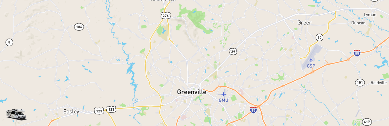 Class C RV Rentals Map Greenville, SC