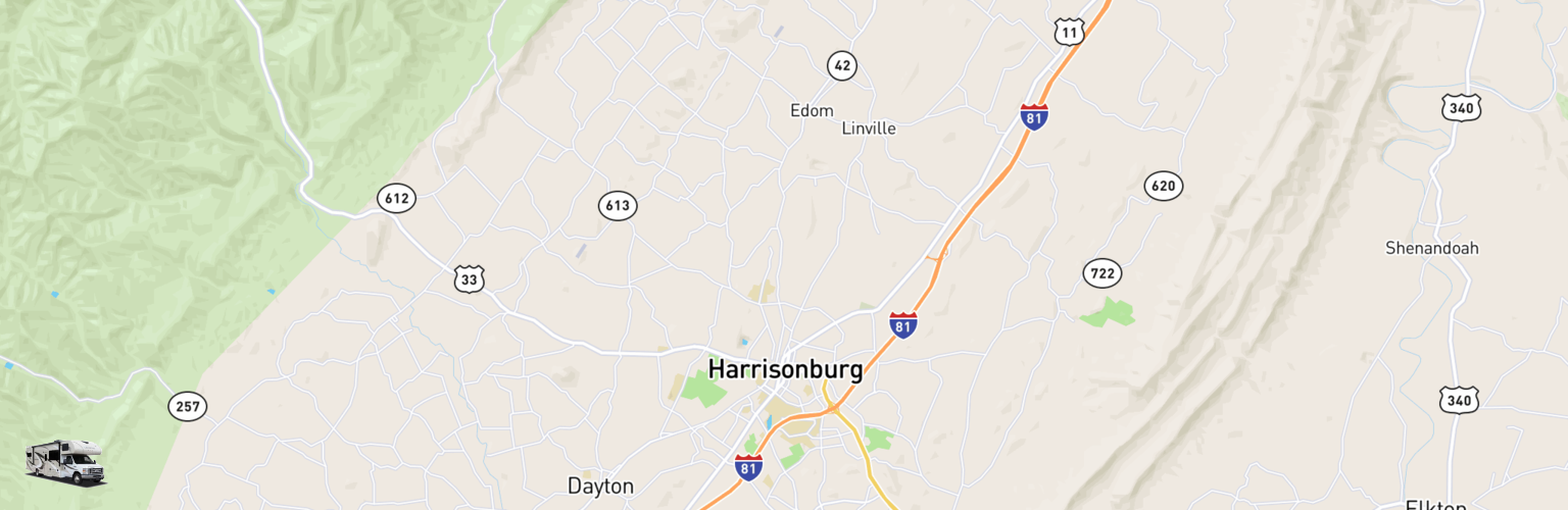 Class C RV Rentals Map Harrisonburg, VA
