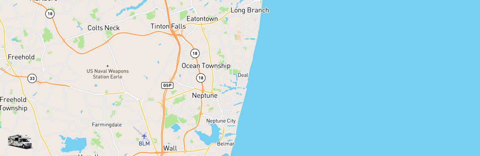 Class C RV Rentals Map Jersey Shore, NJ