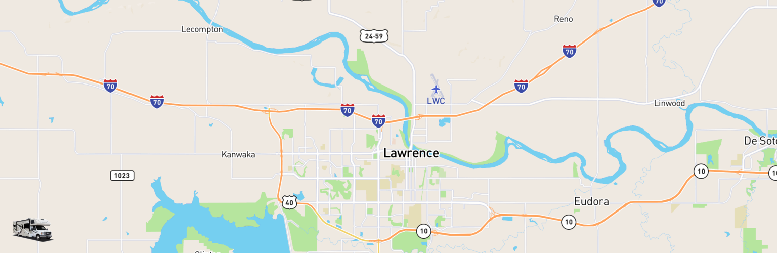 Class C RV Rentals Map Lawrence, KS