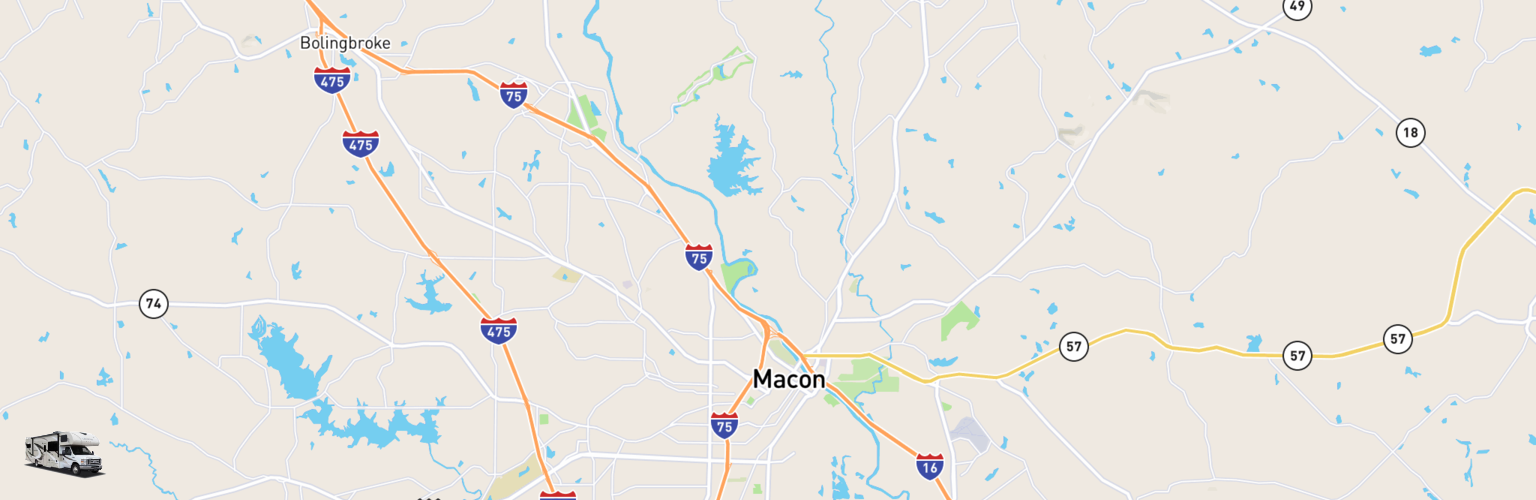 Class C RV Rentals Map Macon Warner Robins, GA