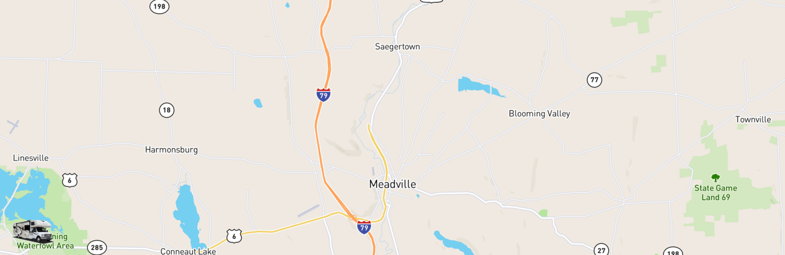 Class C RV Rentals Map Meadville, PA