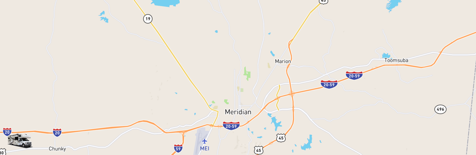 Class C RV Rentals Map Meridian, MS