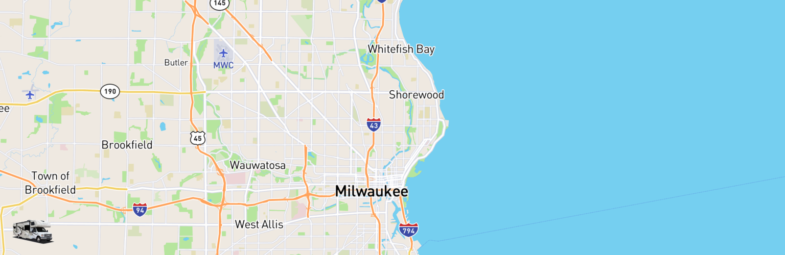 Class C RV Rentals Map Milwaukee, WI