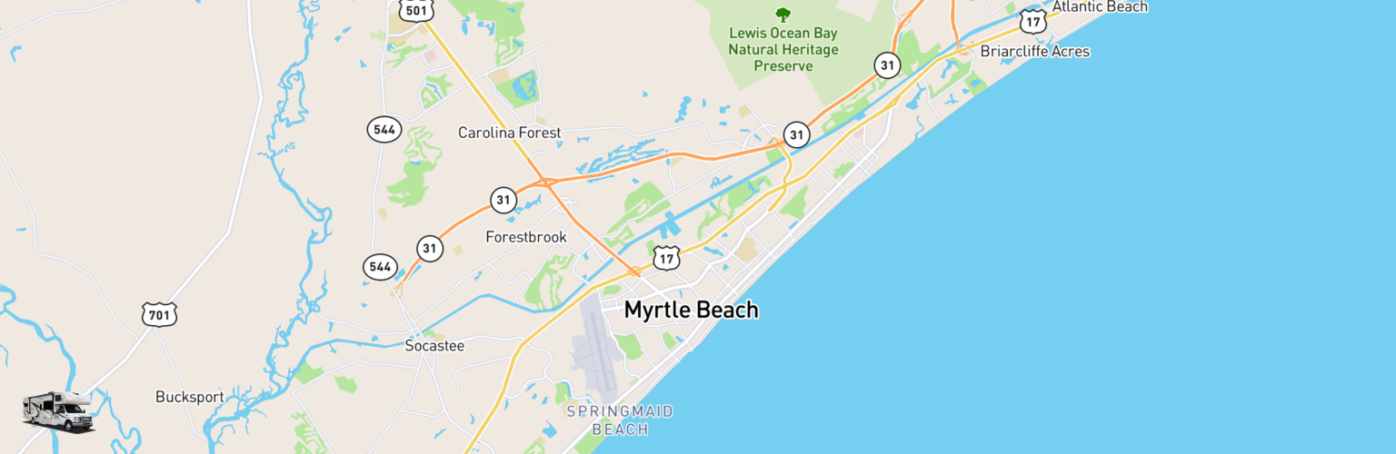 Class C RV Rentals Map Myrtle Beach, SC
