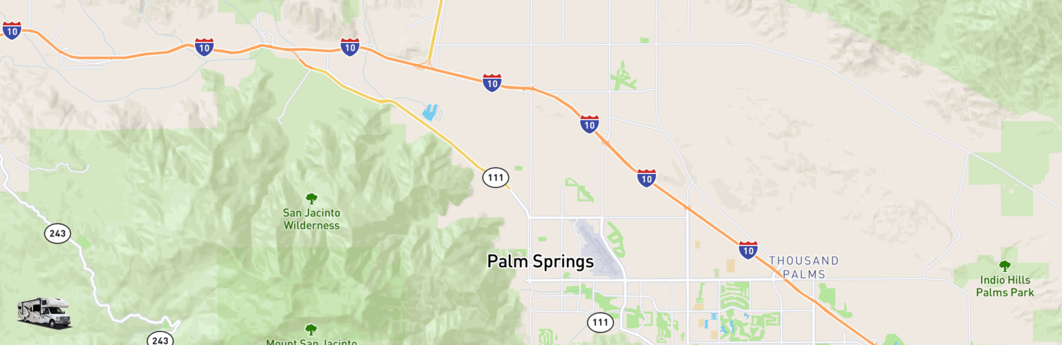 Class C RV Rentals Map Palm Springs, CA
