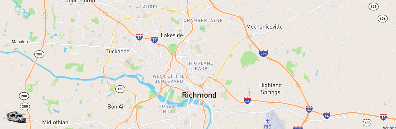 Class C RV Rentals Map Richmond, VA