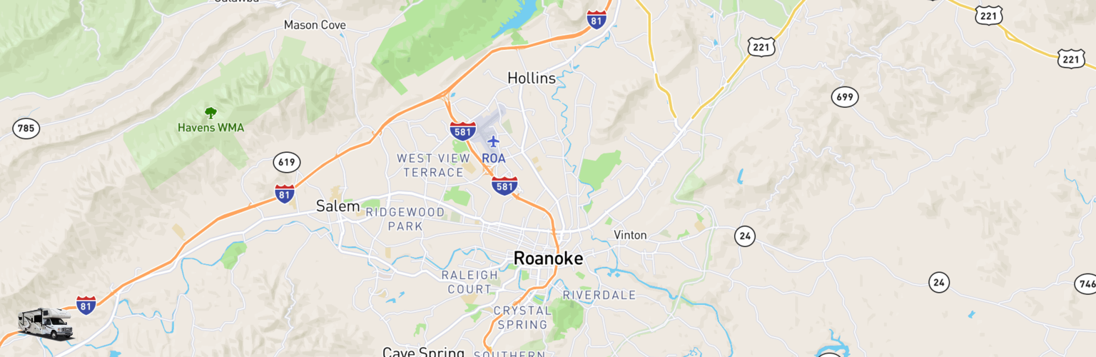 Class C RV Rentals Map Roanoke, VA