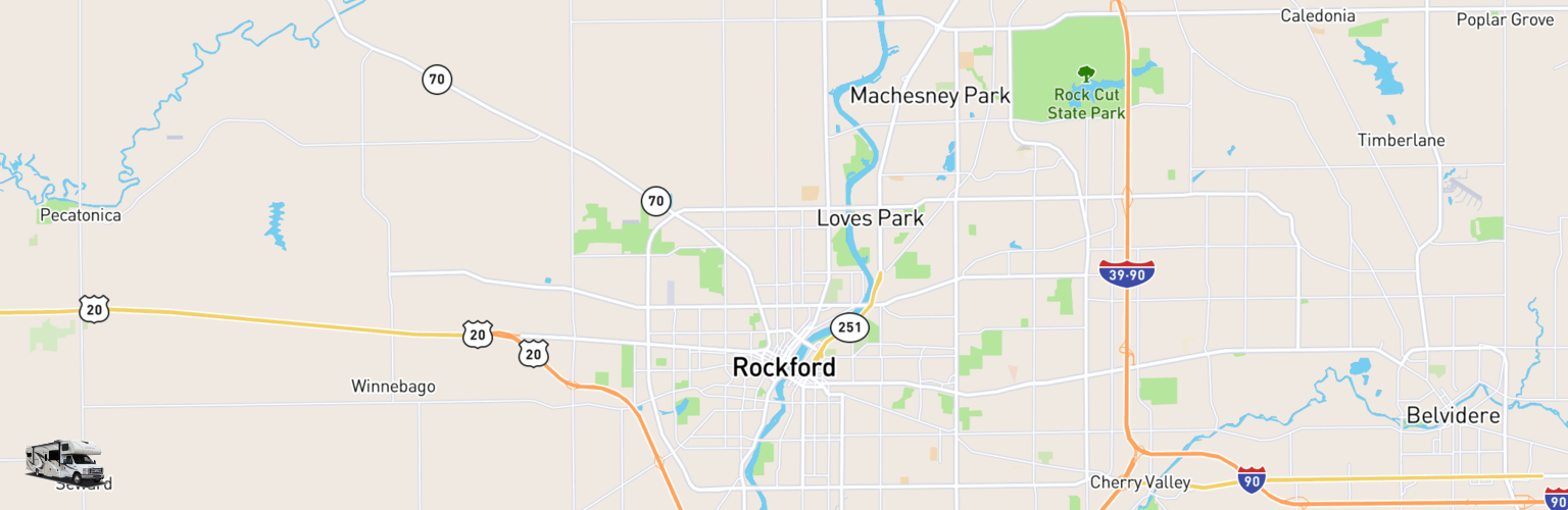 Class C RV Rentals Map Rockford, IL