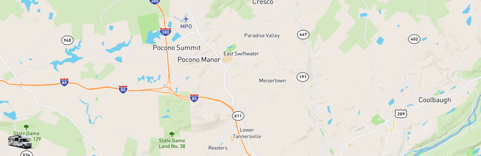Class C RV Rentals Map The Poconos, PA