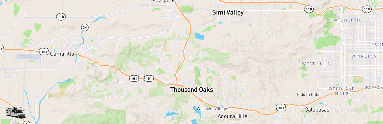 Class C RV Rentals Map Thousand Oaks, CA
