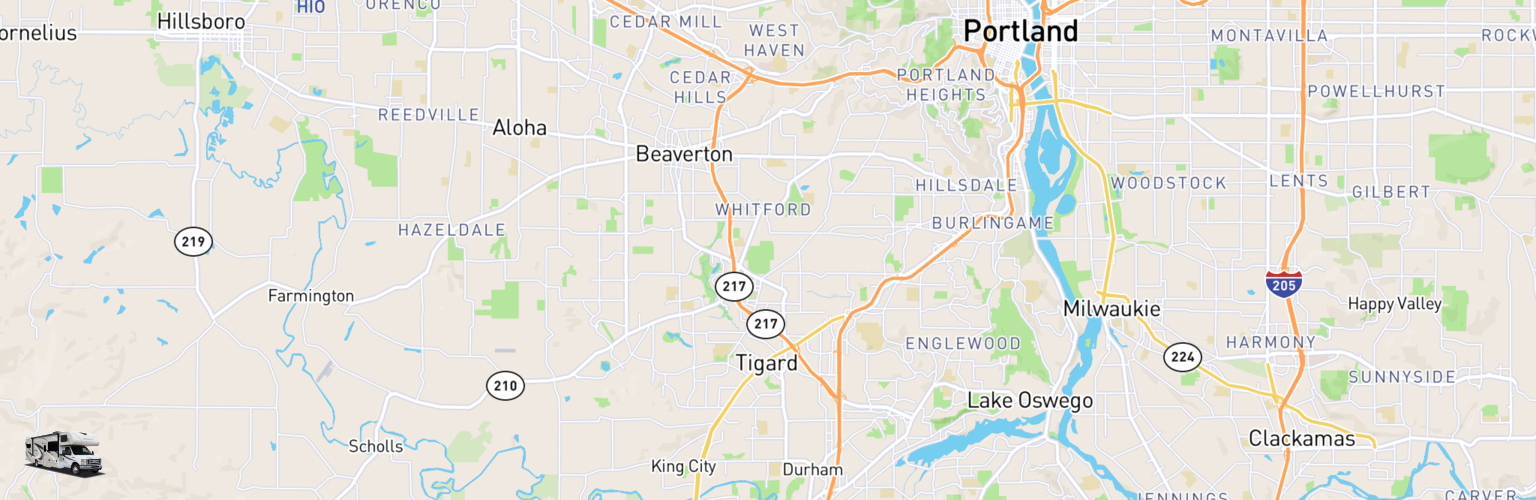 Class C RV Rentals Map Tigard, OR