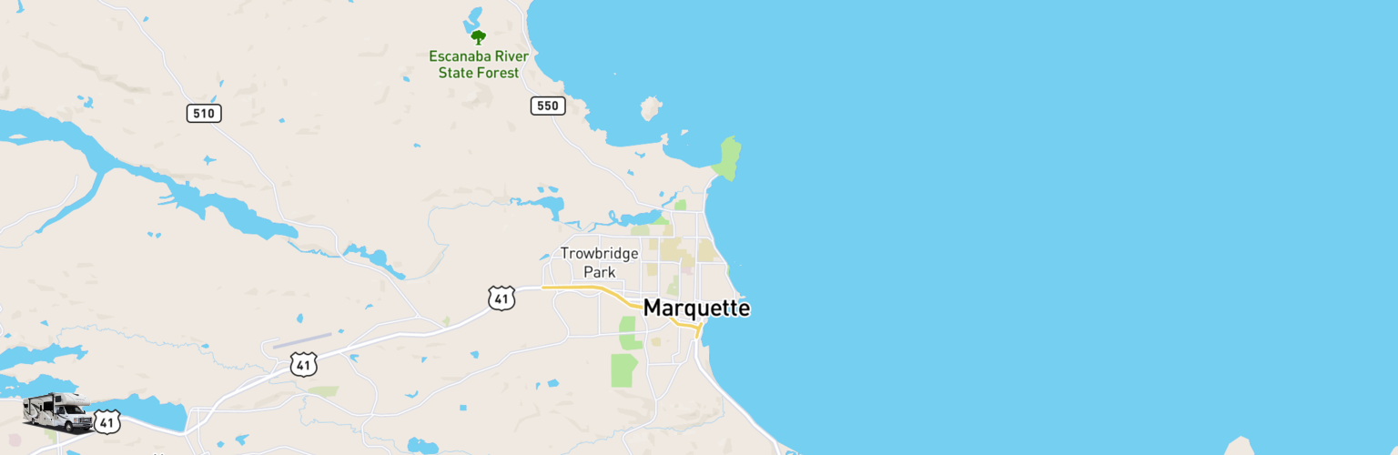 Class C RV Rentals Map Upper Peninsula, MI
