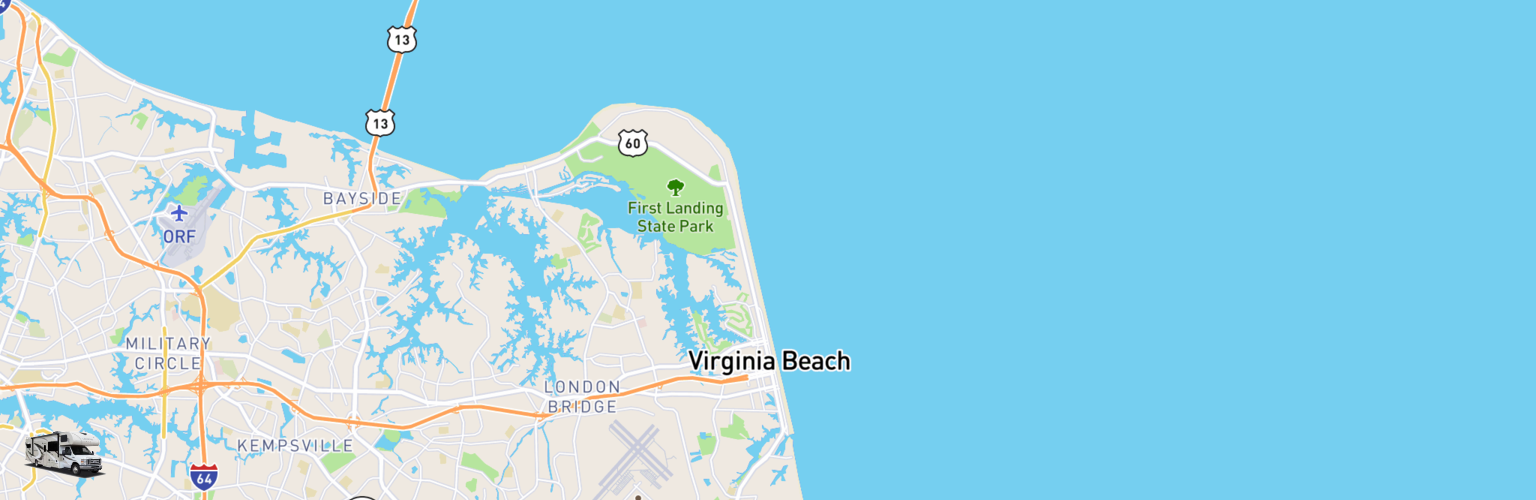 Class C RV Rentals Map Virginia Beach, VA