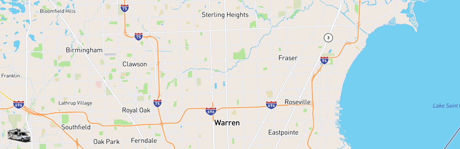 Class C RV Rentals Map Warren, MI