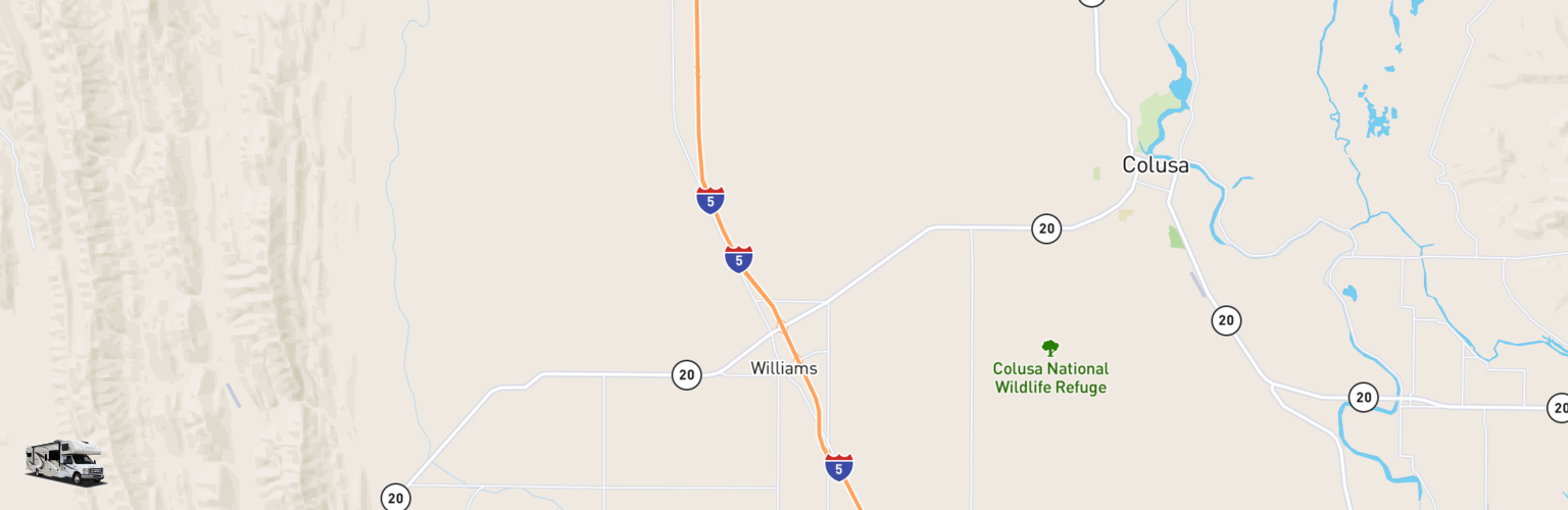 Class C RV Rentals Map Williams, CA